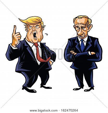 President Donald Trump and Russian President Vladimir Putin Vector Cartoon Caricature Portrait  Illustration