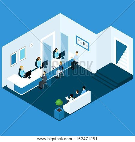 People isometric banking composition with bank office room electronic queue service bankers and waiting clients characters vector illustration
