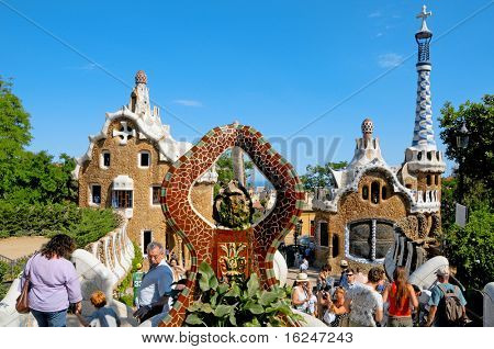 BARCELONA, SPAIN - JUNE 5: The famous Park Guell on June 5, 2010 in Barcelona, Spain. The impressive and famous park was designed by Antoni Gaudi
