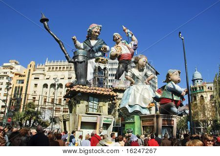 VALENCIA, SPAIN - MARCH 17: A typical falla at Fallas party on March 17, 2010 in Valencia, Spain. Those ephemeral monuments, fallas, are burned on March 19, on Saint Jospeh's day.