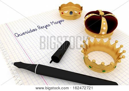 Carta a los reyes magos. Spanish tradition on january 6 where the three wise men receive letters from children and so bring them gifts on the night before Epiphany. 3d render 3d illustration