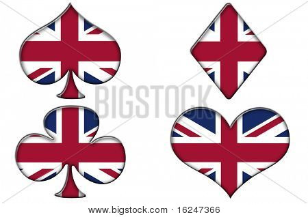poker suits, spades, hearts, diamonds and clubs, with the british flag on a white background