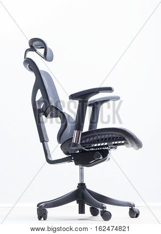 orthopedic chair ergonomic computer workstation on a gray background