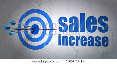 Success marketing concept: arrows hitting the center of target, Blue Sales Increase on wall background, 3D rendering
