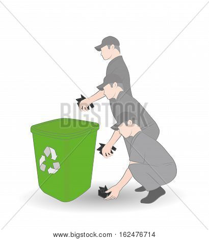 man picks up and throws trash in the trash can. the concept of a clean environment. vector illustration.