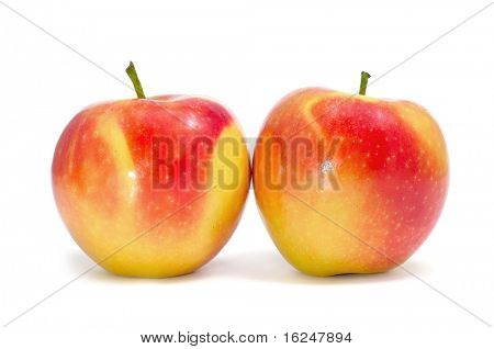 some delicious and fresh apples on a white background