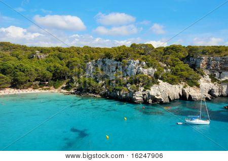 view of Macarella beach in Menorca, Balearic Islands, Spain
