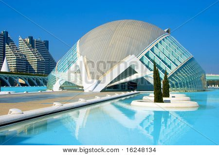 VALENCIA, SPAIN - MARCH 17: Hemisferic in The City of Arts and Sciences  on March 17, 2010 in Valencia, Spain. This futuristic building was designed by the famous architect Santiago Calatrava.