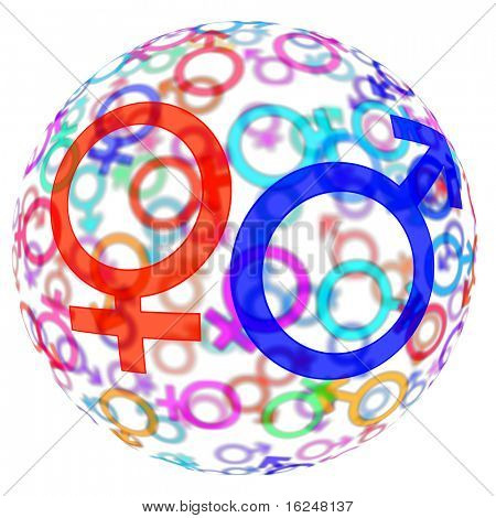 male an female symbols of different colors drawn in a sphere on a white background