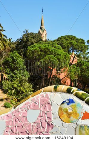 BARCELONA, SPAIN - MARCH 19: The famous Park Guell on March 19, 2011 in Barcelona, Spain. The impressive and famous park was designed by Antoni Gaudi