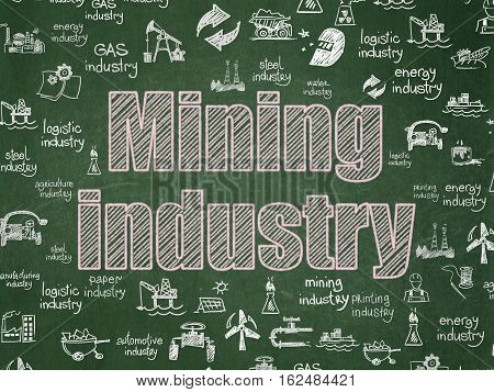 Industry concept: Chalk Pink text Mining Industry on School board background with  Hand Drawn Industry Icons, School Board