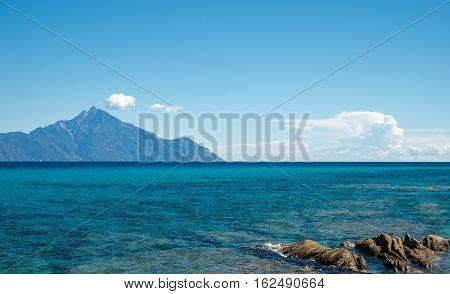 View of mountain Athos Sithonia Chalkidiki peninsula in Greece