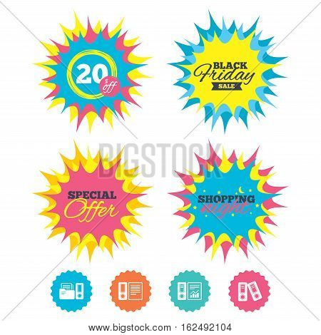 Shopping night, black friday stickers. Accounting report icons. Document storage in folders sign symbols. Special offer. Vector