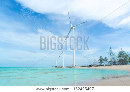Wind turbine in the water park for onshore energy Green energy Selective energy.