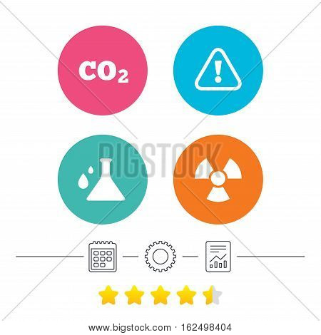 Attention and radiation icons. Chemistry flask sign. CO2 carbon dioxide symbol. Calendar, cogwheel and report linear icons. Star vote ranking. Vector