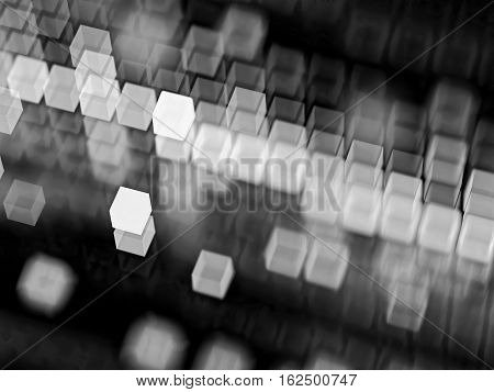 Abstract tech background - computer-generated image. Fractal geometry: blurred cubes, randomly placed and in rows. Technology or business background.
