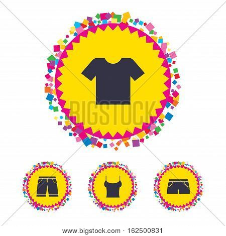 Web buttons with confetti pieces. Clothes icons. T-shirt and bermuda shorts signs. Swimming trunks symbol. Bright stylish design. Vector