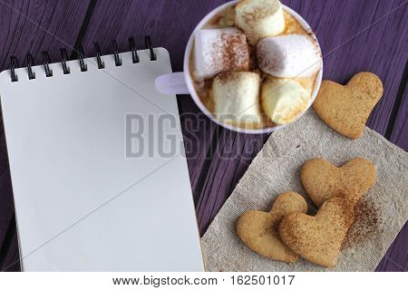 Hot Cocoa With Marshmallows And Heart Cookies