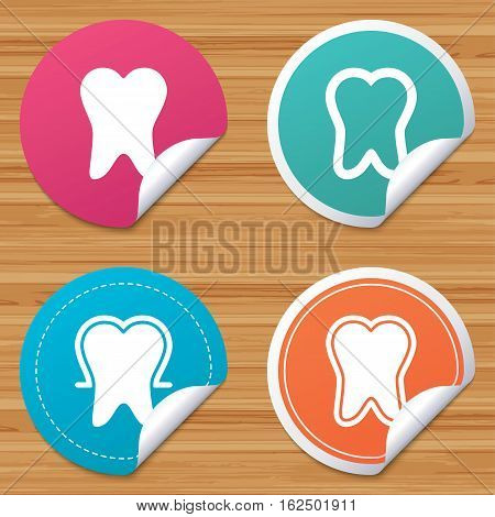 Round stickers or website banners. Tooth enamel protection icons. Dental care signs. Healthy teeth symbols. Circle badges with bended corner. Vector