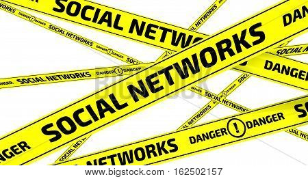 Social networks. Danger. Yellow warning tapes. Yellow warning tapes with inscription