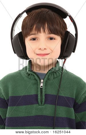 Young Boy Wearing A Set Of Headphones With Clipping Path