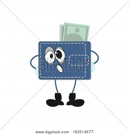 Purse cartoon stuffed with money. Fat wallet sigh of gravity. Vector