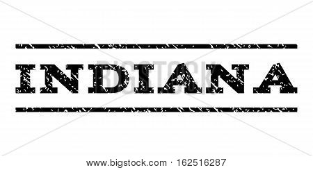 Indiana watermark stamp. Text caption between horizontal parallel lines with grunge design style. Rubber seal stamp with unclean texture. Vector black color ink imprint on a white background.