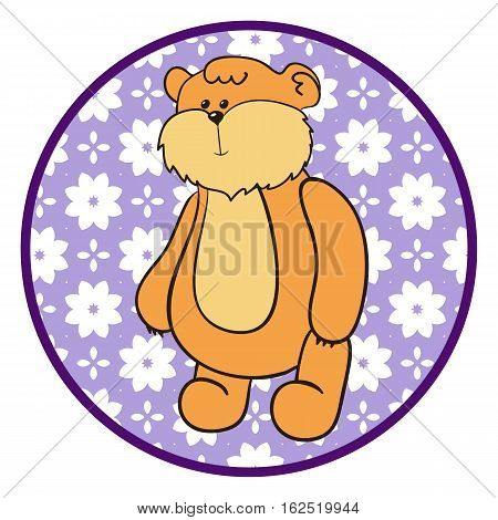 Teddy bear. Little toy bear on a round lilac background for design of children's goods and things. Sticker for a photo shoot with cute little animals.