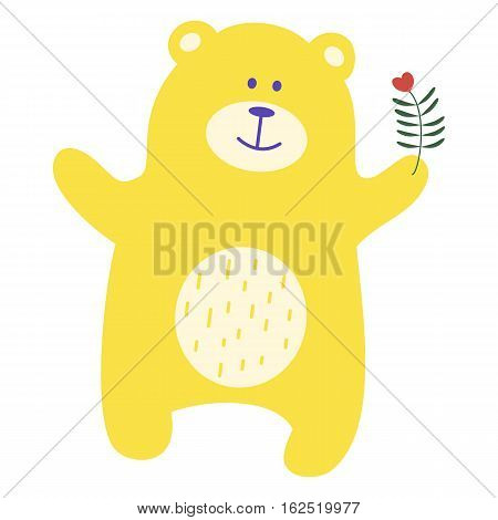 Teddy bear. Yellow toy bear for design of children's goods and things. Sticker for a photo shoot with cute little animals.
