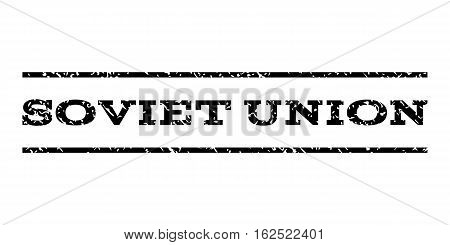 Soviet Union watermark stamp. Text caption between horizontal parallel lines with grunge design style. Rubber seal stamp with dust texture. Vector black color ink imprint on a white background.