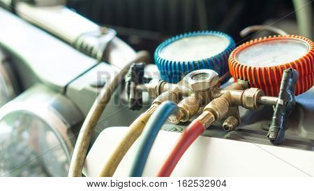 Car and air conditioner service concept - Car air conditioner check service and copy space