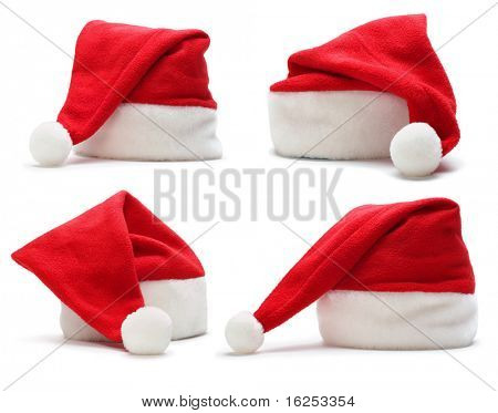 set of red santa claus hat on white background