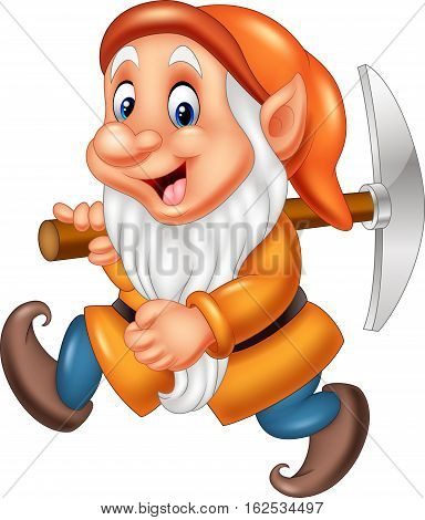 Vector illustration of Cartoon dwarf miner on white background