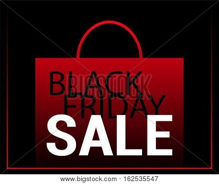 Black Friday Sale vector background. Red shopping bag with text on black. Paper shopping bag icon. Black Friday flyer template with shopping bag and inscription. Black Friday Sale or Discount banner