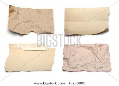 coleção de vários rasgou pedaços de papel no fundo branco