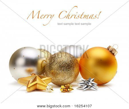 card with Christmas balls isolated
