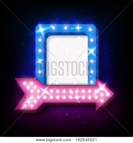 Retro neon sign with neon arrow. 3D night neon sign with glowing lights. Vector illustration of frame, neon arrow icons. Realistic frame for your designs, banners, flayers or advertising