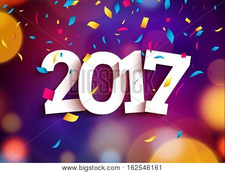 Happy New Year 2017 background decoration. Greeting card design template. Vector illustration of date 2017 year. Celebrate brochure or flyer.