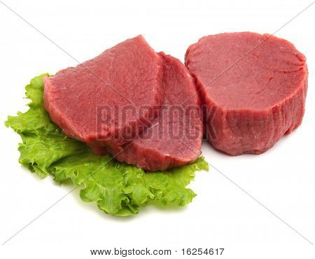 raw beef meat with leaf lettuce