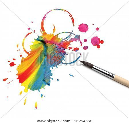 artist brush and abstract paint blot