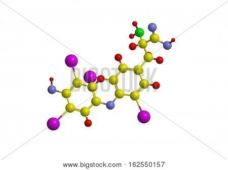 Molecular structure of thyroxine the compound belogns to family of thyroid hormones 3D rendering