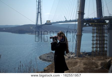 Construction of the cable-stayed bridge. Cable-stayed pylon