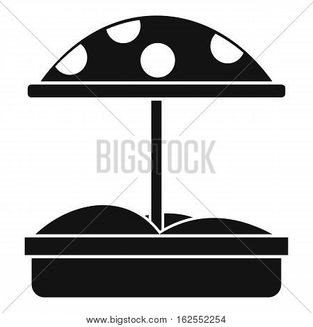 Sandbox with dotted umbrella icon. Simple illustration of sandbox with dotted umbrella vector icon for web