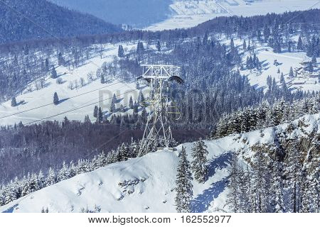 Winter Landscape Of The Mountains And Trees Covered By Snow In Brasov, Romania