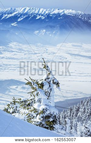 Winter Landscape In The Mountains With White Snow Covering The Trees, Fields And Mountain Peaks In B