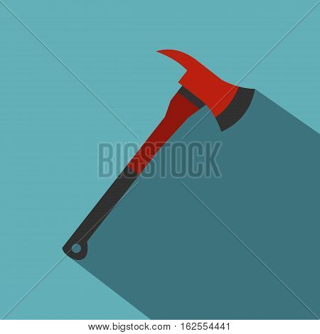 Red firefighter axe icon. Flat illustration of red firefighter axe vector icon for web isolated on baby blue background