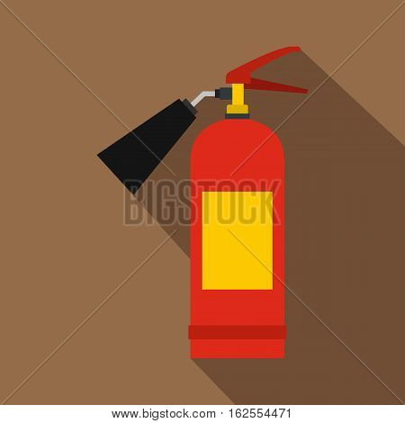 Red fire extinguisher icon. Flat illustration of fire extinguisher vector icon for web isolated on coffee background