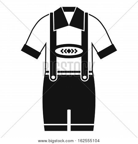 T-shirt and pants with suspenders icon. Simple illustration of t-shirt and pants with suspenders vector icon for web