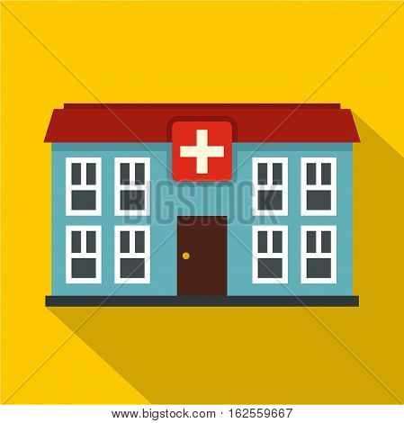 Hospital icon. Flat illustration of hospital vector icon for web
