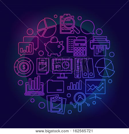 Financial accounting colorful symbol. Vector round business analytics and research outline concept sign on dark background